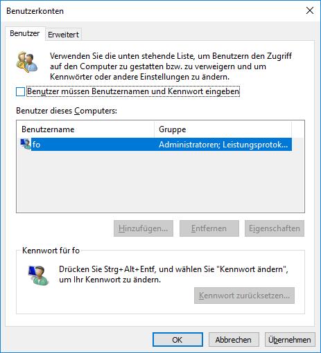 Automatische Anmeldung Windows: Fenster Benutzerkonten