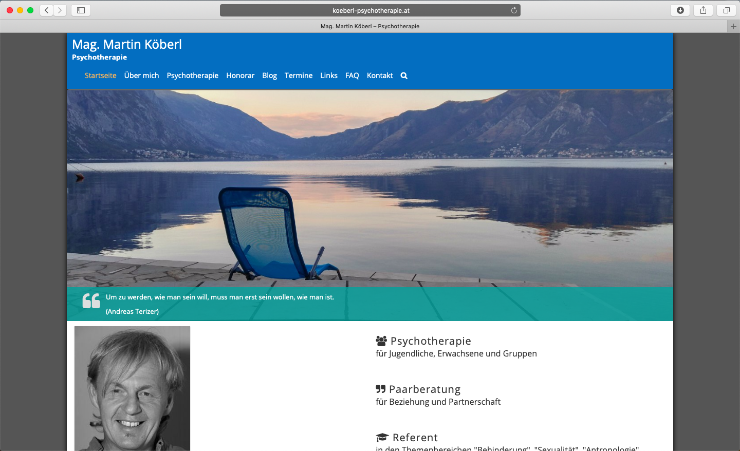 Screenshot www.koeberl-psychotherapie.at