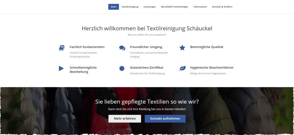 Screenshot Website Textilreinigung Schäuckel