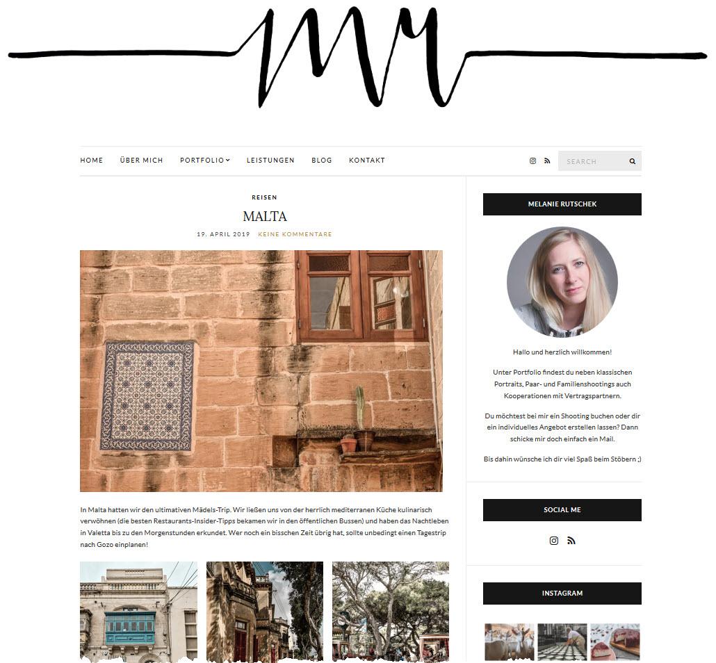 Screenshot Website Melanie Rutschek Fotografie