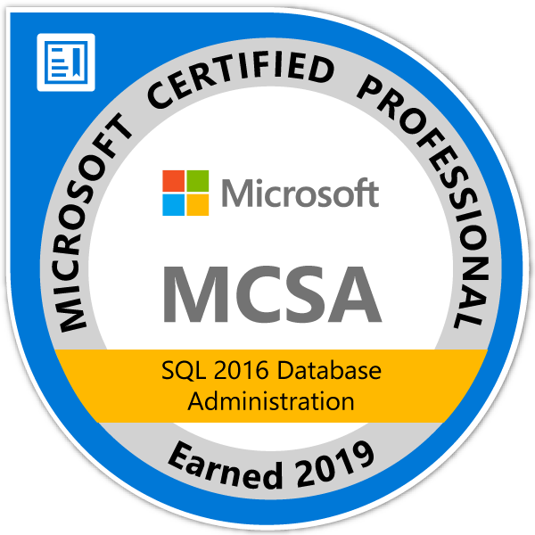 Badge MCSA SQL 2016 Database Administration